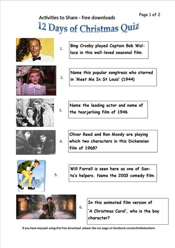 Picture of DL21 12 Days of Christmas Quiz (page 1)
