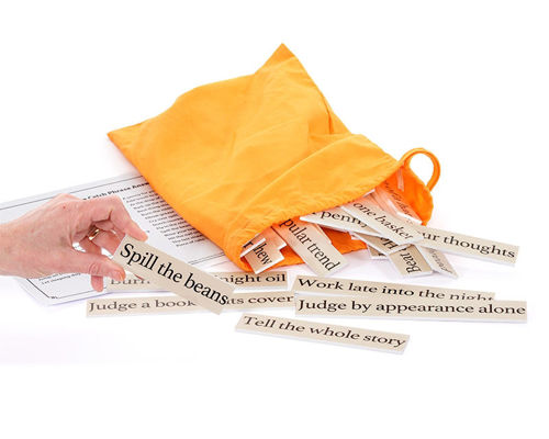 Match the Catchphrase game, image shows orange bag with tiles spilling out, hand holding a tile reading 'Spill the Beans' Set includes: 30 sayings to match on durable plastic with large print lettering. Answer card. Drawstring storage bag.  Size: Tiles: (l) various x (w) 3cm x (h) 0.3cm. Bag: (l) 33cm x (w) 24cm.