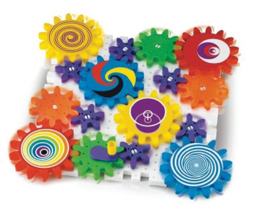 Cogs and Gears Tactile Activity Set, interlocking pieces to form moving wheels, suitable for dementia care home residents, 49 colourful plastic pieces easy grip, interlocking base plates, boxed.