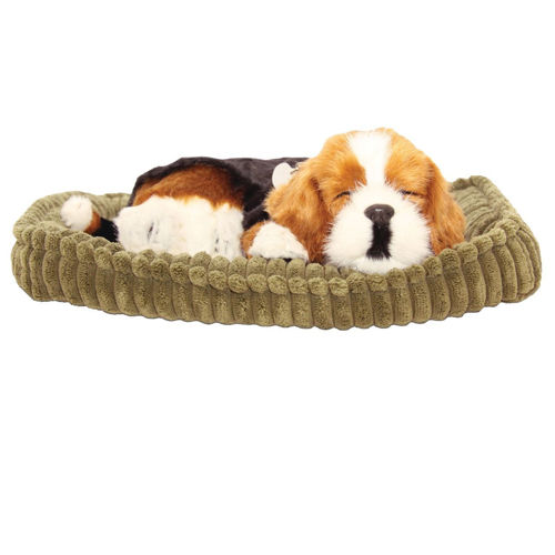 Precious Petzzz - Bertie the Beagle, comforting companion with 'breathing'action, comes with carry case and bed, runs on single D battery (included), size: 25cm x 19cm x 9cm.