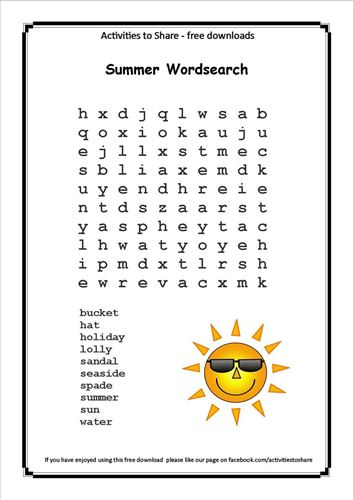 Picture of Summer Wordsearch
