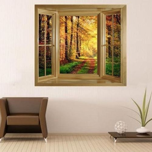 Picture of 'Through The Window' Wall Mural - Autumn Leaves