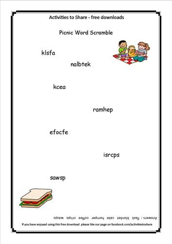 Picture of Picnic Word Scramble