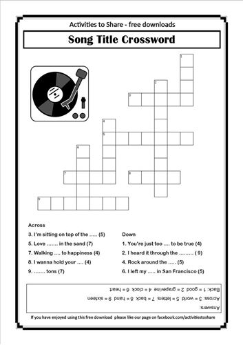 Picture of Song Title Crossword