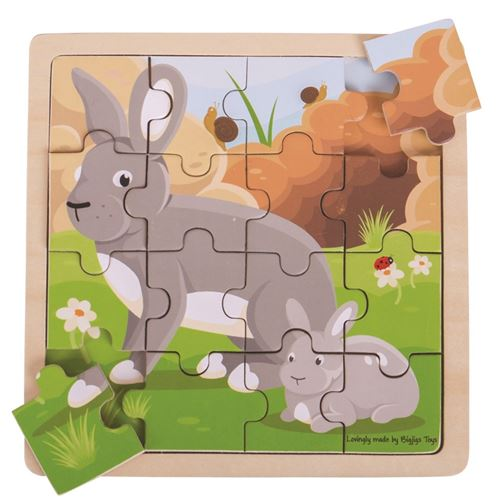 Picture of 16 Piece Wooden Puzzle - Mother & Baby Rabbit