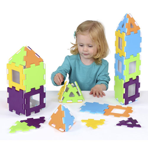 Polydron Building Set, 40 colourful plastic pieces that snap together, 10 each square, square frame, triangle and triangle frame, Size: Box: (l) 34cm x (w) 23.5cm X (D) 4.75cm.