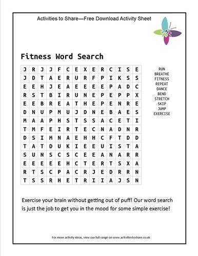 Picture of Fitness Word Search