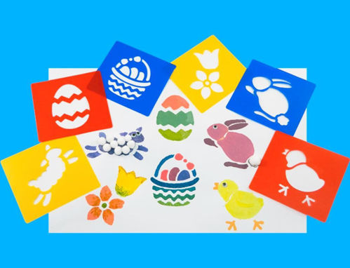 """<img src = """"Springtime Stencils, pack of 6 assorted styles, easter egg (red), eggs in basket (blue), rabbit (blue), chick (red), flower (yellow) and lamb (yellow), washable plastic, size 15cm x 14cm"""">"""