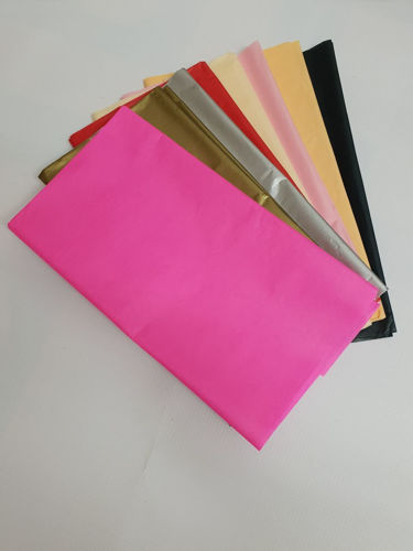 """<img src = """"Coloured Tissue Paper (12 sheets), coloured tissue paper sheets splayed out in a fan shape, pink brown grey red cream pink black peach, on grey background"""">"""