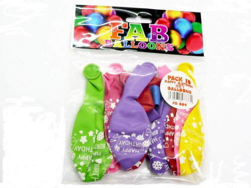 Picture of Happy Birthday Balloons (Pack of 10)