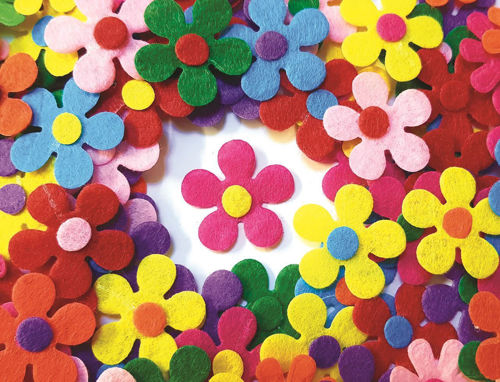 Felt Flowers for craft projects, assorted colours, pack of 100, size: 3cm dia