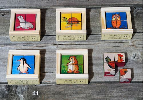 Picture of 4 Piece Wooden Cube Puzzle - Animals Mini