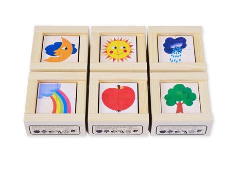 Picture of 4 Piece Wooden Cube Puzzle - Nature Mini