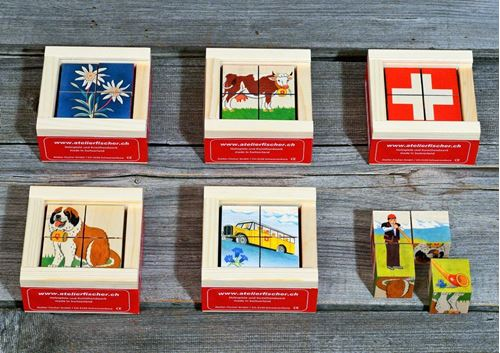 Picture of 4 Piece Wooden Cube Puzzle - Swiss Mini