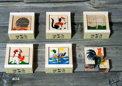 Picture of 4 Piece Wooden Cube Puzzle - Animals