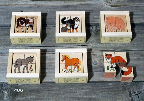 Picture of 4 Piece Wooden Cube Puzzle - Farm