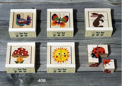 Picture of 4 Piece Wooden Cube Puzzle - Nature