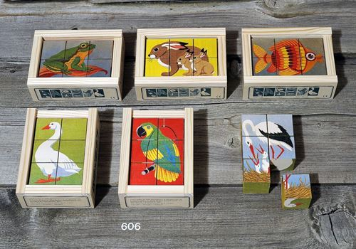 Picture of 6 Piece Wooden Cube Puzzle - Animals 3
