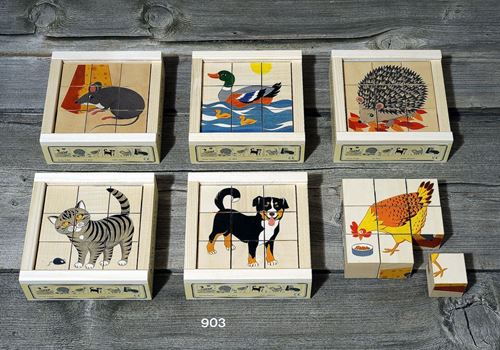 Picture of 9 Piece Wooden Cube Puzzle - Animals