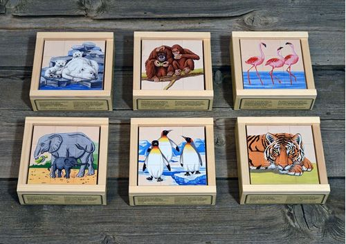 Picture of 9 Piece Wooden Cube Puzzle - Zoo