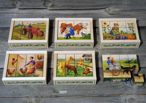 Picture of 12 Piece Wooden Cube Puzzle - Farmyard