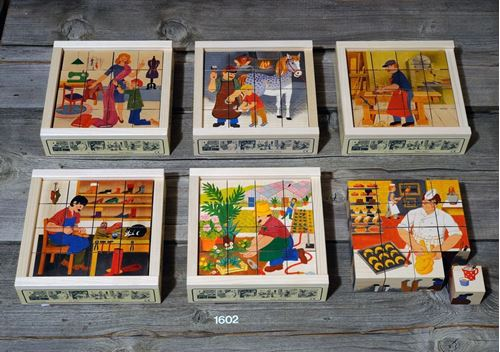 Picture of 16 Piece Wooden Cube Puzzle - Professions