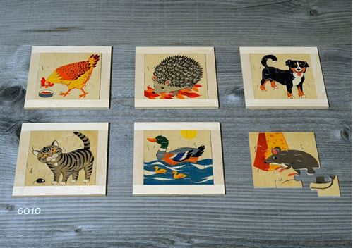 Picture of 9 Piece Wooden Puzzles (Set of 6 - Animals)