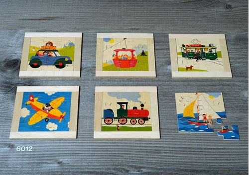 Picture of 9 Piece Wooden Puzzles (Set of 6 - Transportation)