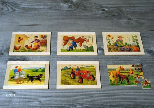 Picture of 12 Piece Wooden Puzzles (Set of 6 - Farmyard)