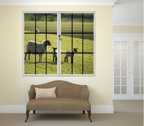 Picture of Through the Window Wall Mural - Signs of Spring Lambs