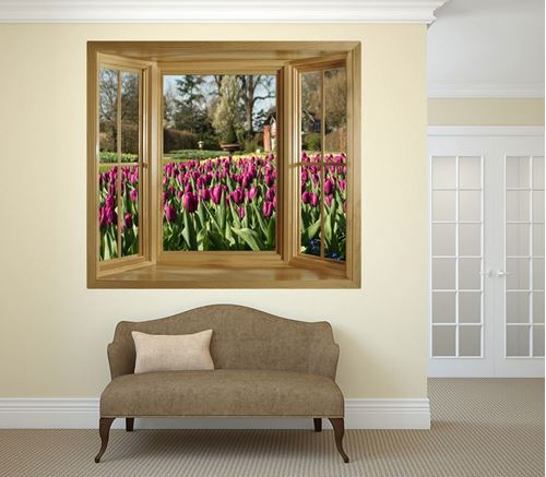 Picture of Through the Window Wall Mural - Tiptoe Through The Tulips