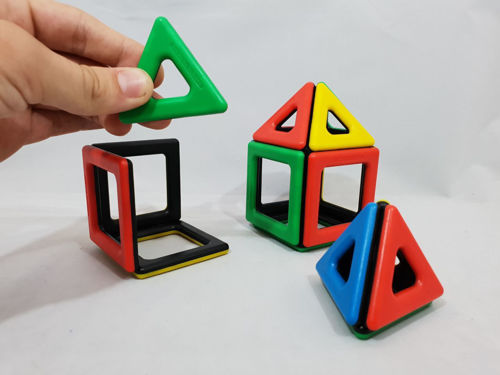 Polydron Magnetic Game, 32 plastic pieces, 12 squares, 20 triangles in various colours, Size; Box: (l) 17cm x (w) 9cm x (d) 6cm. Boxed
