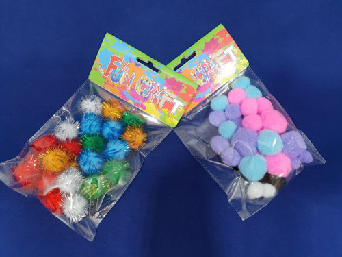 Picture of Craft Pom Poms Assorted (Pack of 2)