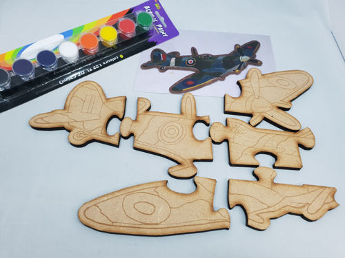 Picture of Hand Crafted Wooden Puzzle - Paint Your Own Spitfire (6 Pieces)