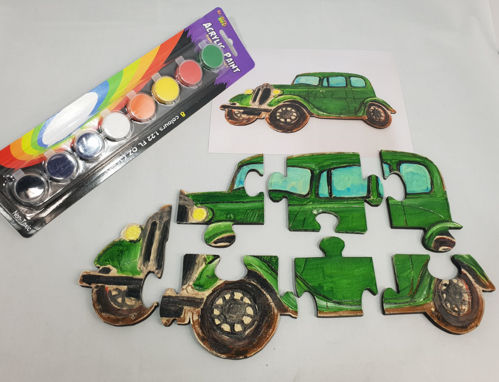 Picture of Hand Crafted Wooden Puzzle - Paint Your Own Vintage Car (7 Pieces)