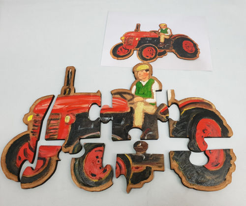 Picture of Hand Crafted Wooden Puzzle - Tractor (8 Pieces)