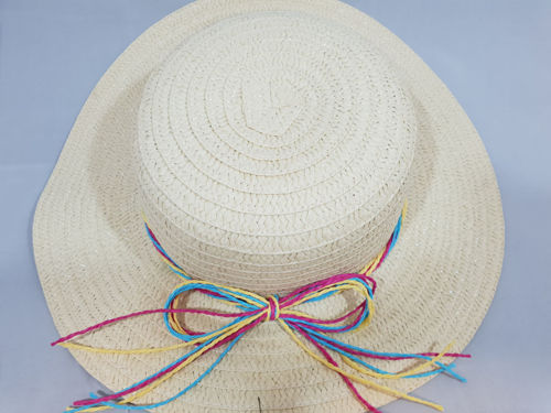 Easter bonnet or Summer Hat ladies lightweight straw effect, rainbow cord decoration, size 35cm dia brim