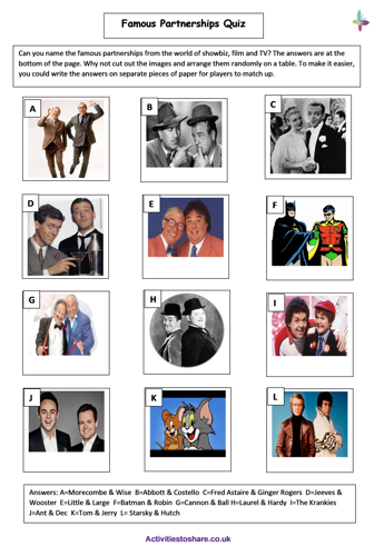 Picture of Famous Partnerships Quiz