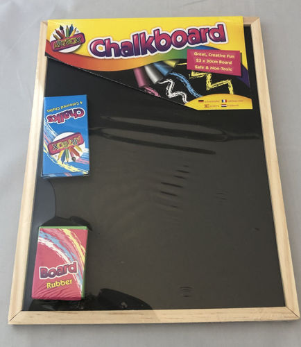 "<img src = ""Activities to Share chalk board with chalks and eraser set, size 23cm x 30cm, natural wooden frame chalk board, chalks in blue coloured box, eraser in pink coloured box"">"