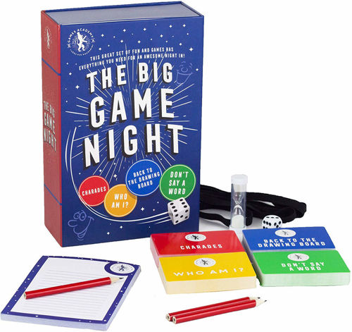 """<i """" img src = The Big Game Night assorted table top game pack, mixed games including Charades, Who Am I?, Back To The Drawing Board,  Don't Say A Word, pack includes dice timer pencils answer pad headbands"""