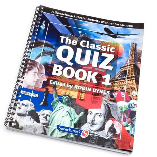 "<img src = "" The Classic Quiz Book, A4 spiral bound softback book with multi-coloured cover showing famous faces places etc, 108 pages of quizzes for all abilities"">"