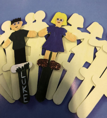 """< img src = """" wooden stick people set, pack of 12, plain lightweight wooden people shaped sticks male and female, image shows sticks with two painted one colourful girl and one colourful boy with Luke name written on"""">"""