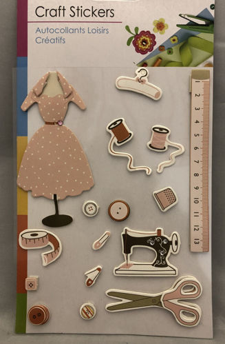 "<img src = ""dressmaking embellishment set, fifteen assorted small stickers includes cotton reel scissors tape measure sewing maching button dressmaker dummy etc, colourful stickers in clear hanging pack with white card backing"">"