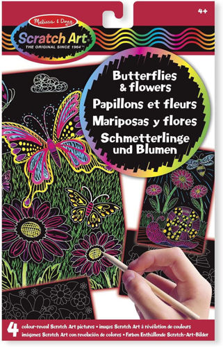 Scratch Art Sheets, Flowers and Butterflies, 4 assorted designs with wooden scratching stylus,  size A4