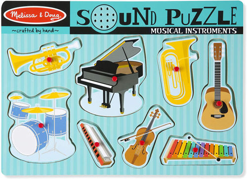 Musical Instruments Sound Puzzle, 8 large shaped pieces all abilities, wood construction,  requires 2 x AAA batteries, size: (w) 31cm x (h) 28cm x (d) 2.2cm