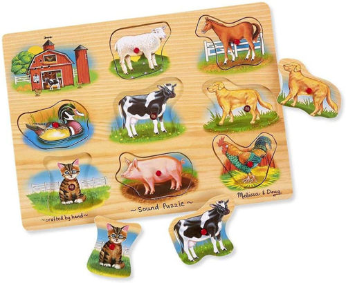9 Large Piece Classic Farm Peg Puzzle (With Sounds), wooden colourful peg puzzle easy grip, 9  chunky pieces of farm animals horse pig sheep duck cat etc, 28cm x 21cm x 3cm, requires 2 x AAA batteries, not included.