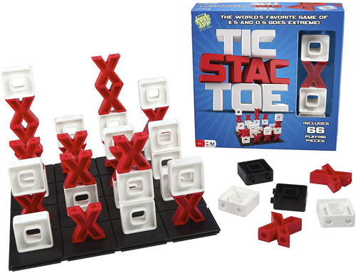 Tic Stac Toe Game, 3D noughts and crosses style game, washable plastic chunky pieces, 66 pieces in red and black plus board, size: 26.7cm x 26.7cm x 6.4cm. Boxed.