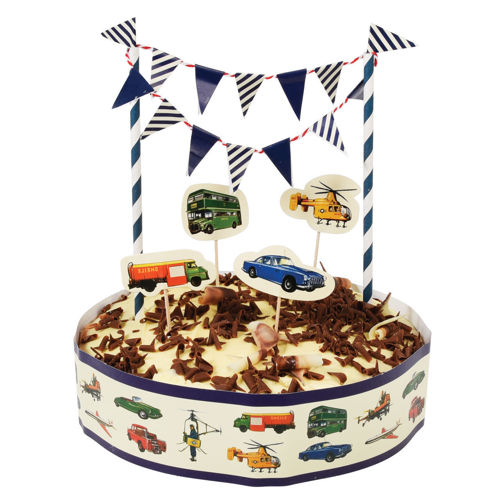 Cake Decor Kit - For Him, paper cake decoration kit comprising cake frill mini bunting and push in cake toppers