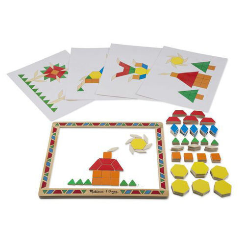 Magnetic Pattern Block Game, 120 magnetic shapes, board, 12 designs to copy, storage case, Size: 14.5cm x 12.5cm x 1.6cm.