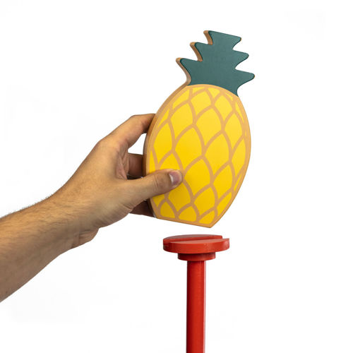 Pineapple Smash Throwing Game, throw the disc to topple the pineapple, garden fun activity, wooden